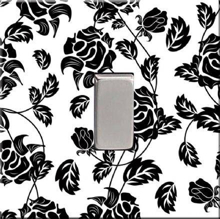 Black Floral Rose Decorative Acrylic Light Switch Cover
